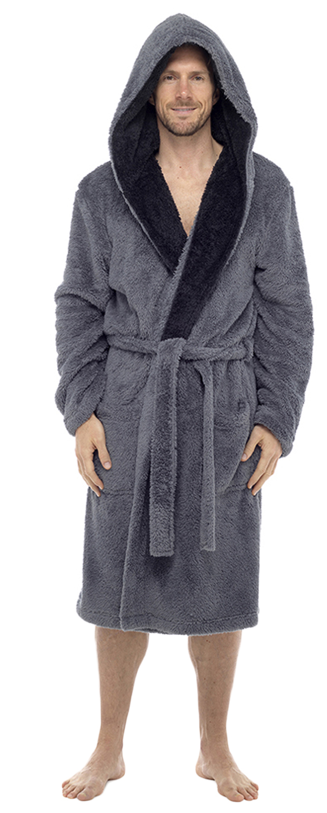 luxury mens sherpa flannel fleece dressing gown hooded robe housecoat xmas size ebay. Black Bedroom Furniture Sets. Home Design Ideas