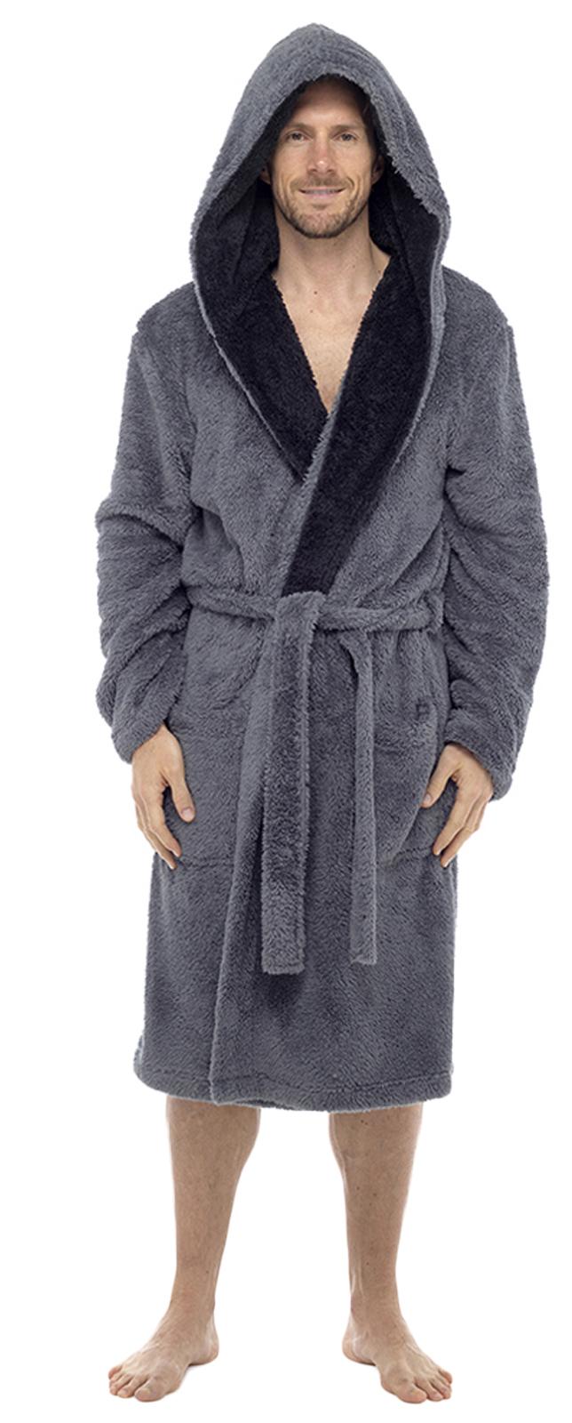Luxury Mens Sherpa Flannel Fleece Dressing Gown Hooded Robe ...