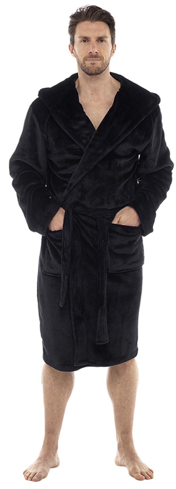 Luxury Mens Sherpa Flannel Fleece Dressing Gown Hooded