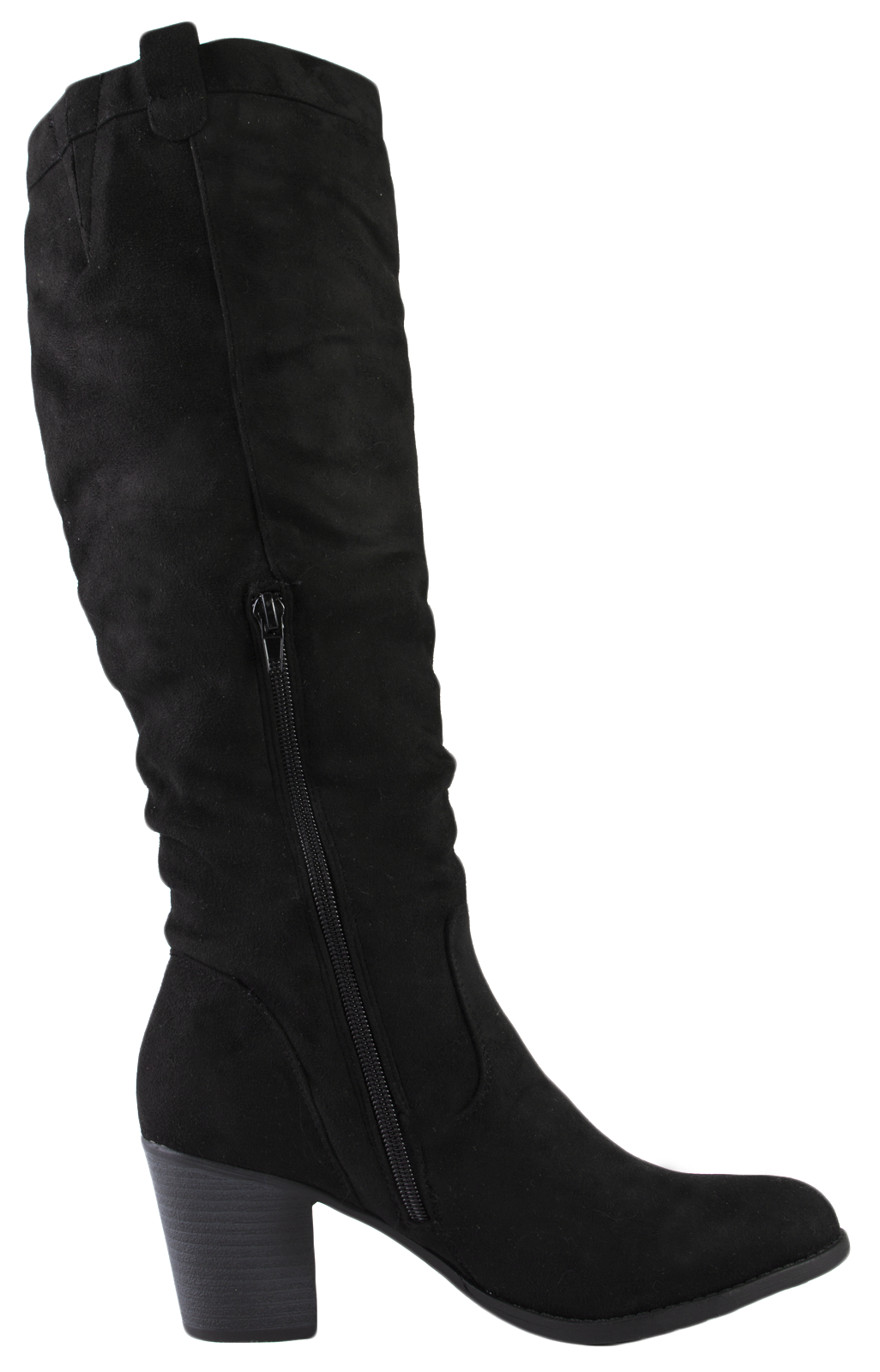womens faux suede chunky block heel knee high boots