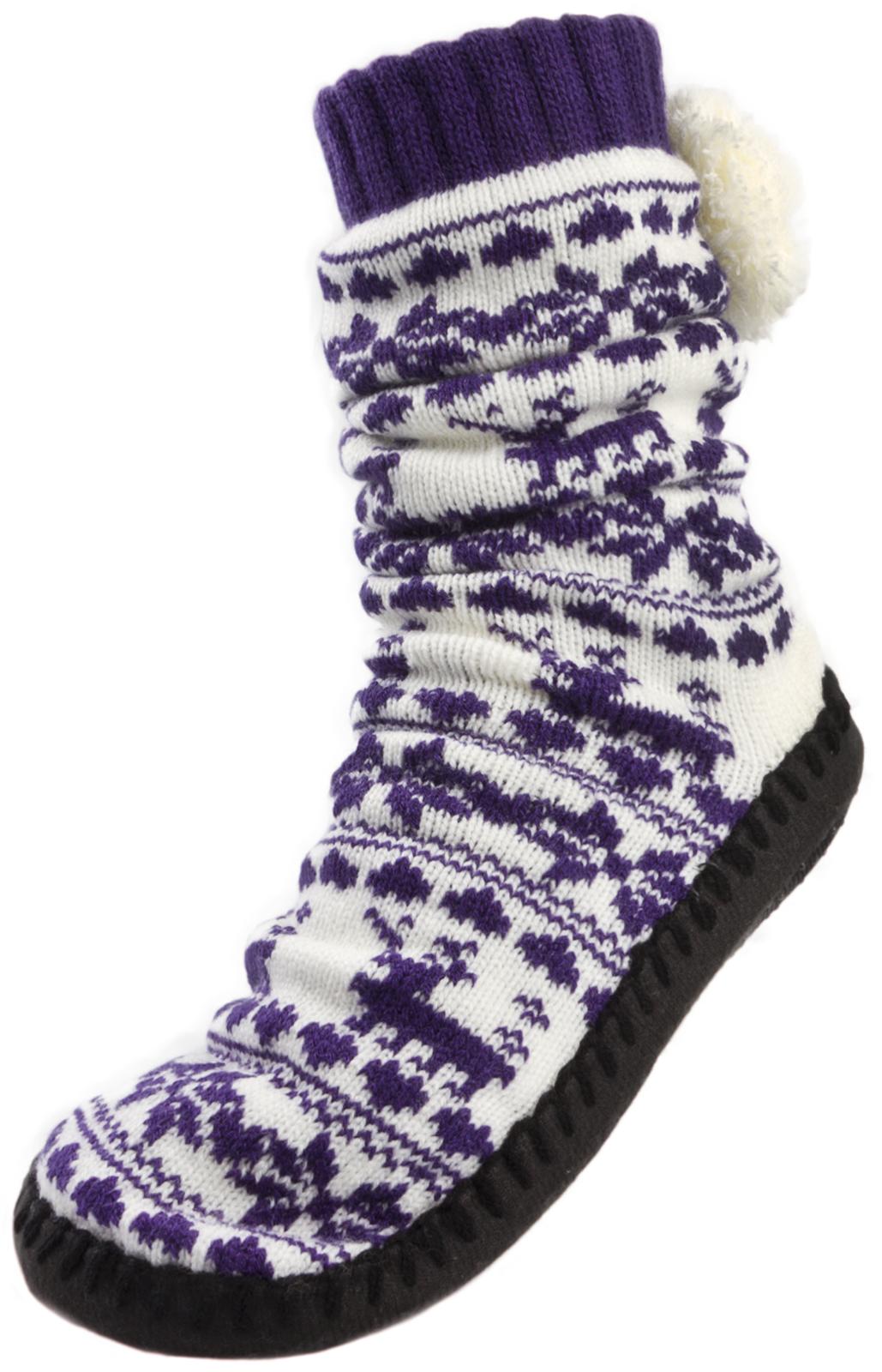Womens Ladies Girls Reindeer Knitted Boots Slipper Socks Ankle Booties Size 4-7 | EBay