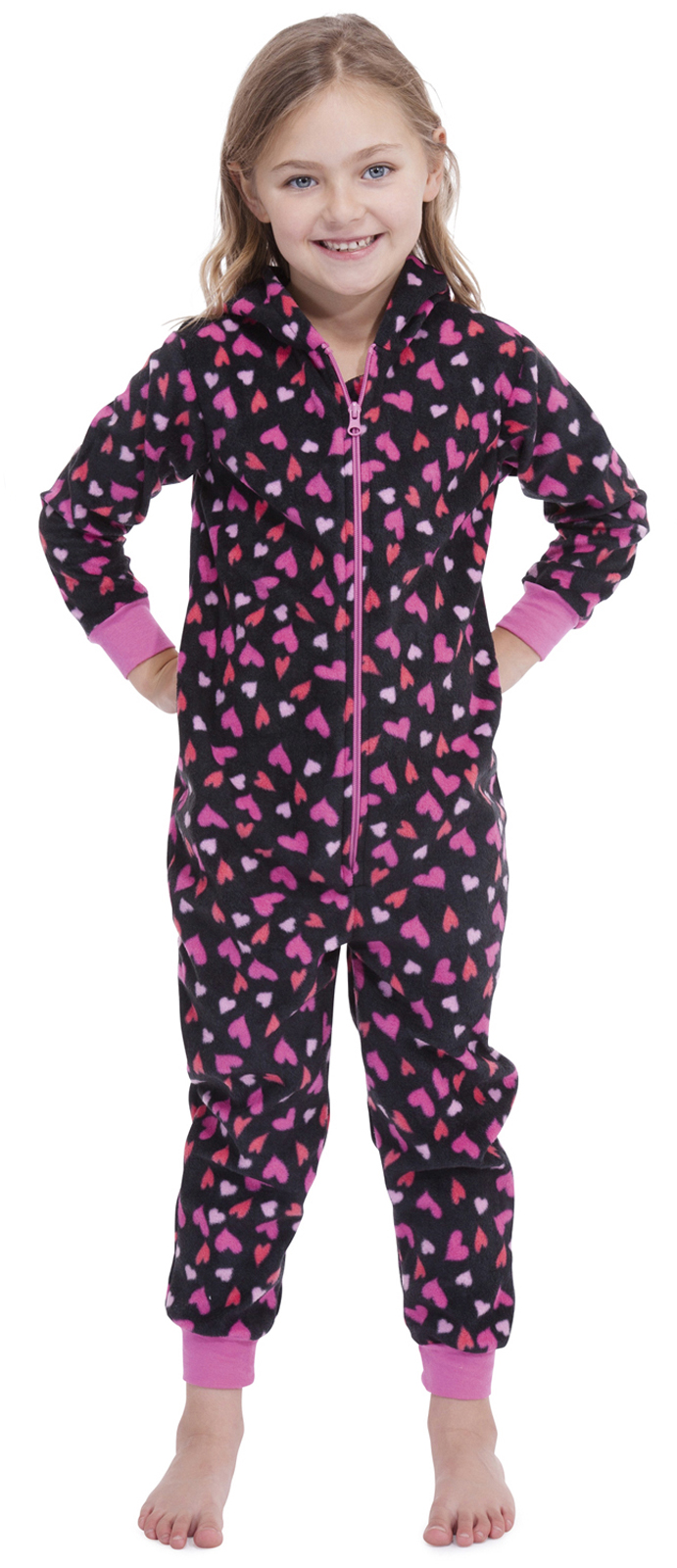 Onesie weather is here! This cool onesie feature a zip front, quirky print and super soft fleecy texture.