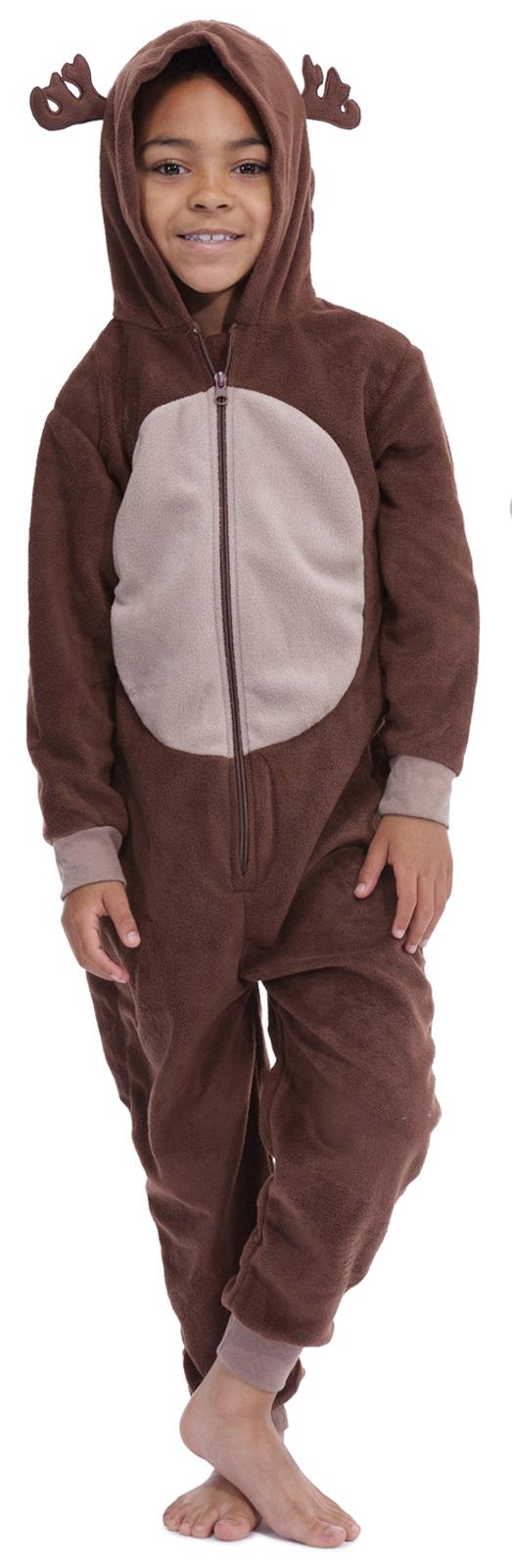 381e1035e063 Kids Girls Boys Hooded Fleece Onesie All In 1 Jumpsuit Pjs Pyjamas ...