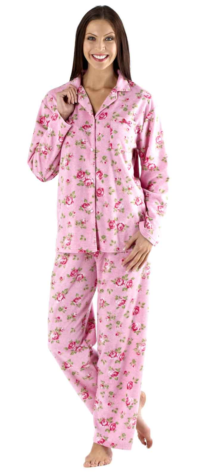 Luxury Womens Fleece Pyjamas Full Length Warm Winter Traditional Nightwear Size