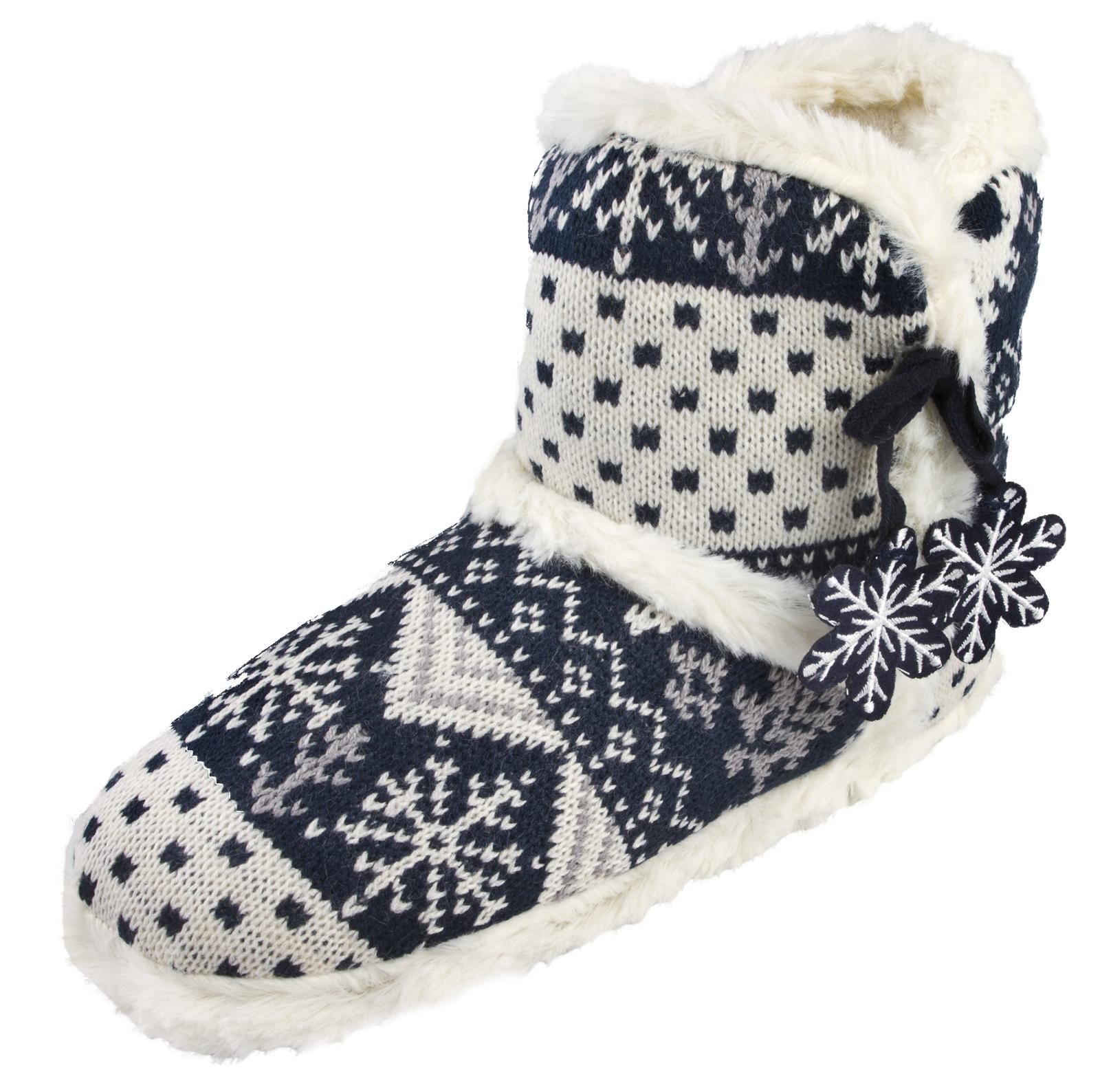 Womens Slipper Boots Knitted Fur Fleece Booties Girls Ladies Slippers Size 3 - 8 | EBay