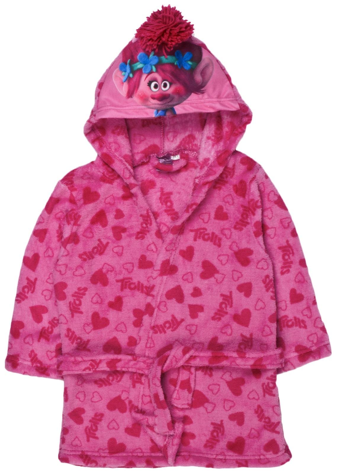 girls trolls hooded fleece dressing gown poppy satin pink With robe trolls