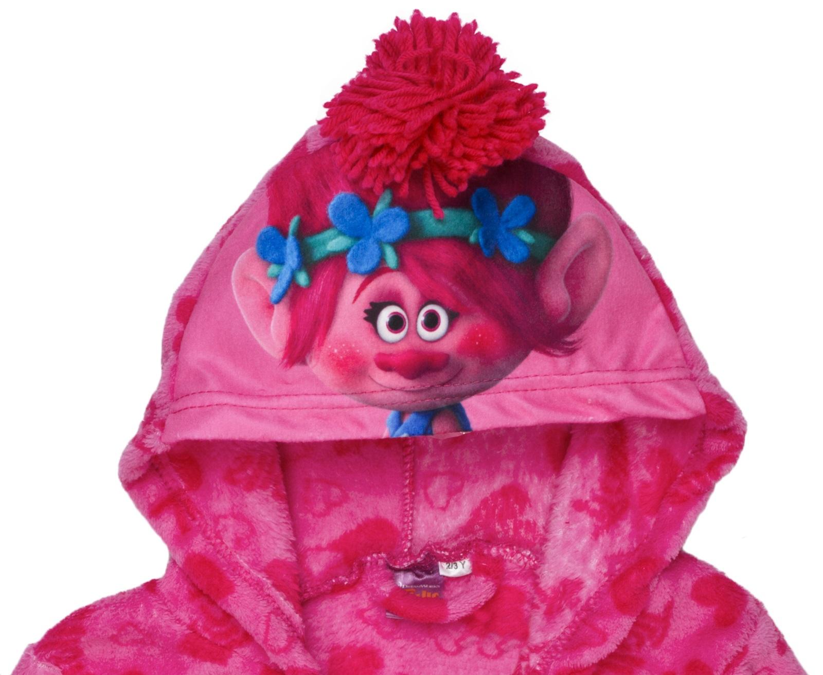 Girls Trolls Hooded Fleece Dressing Gown Poppy Satin Pink Bath