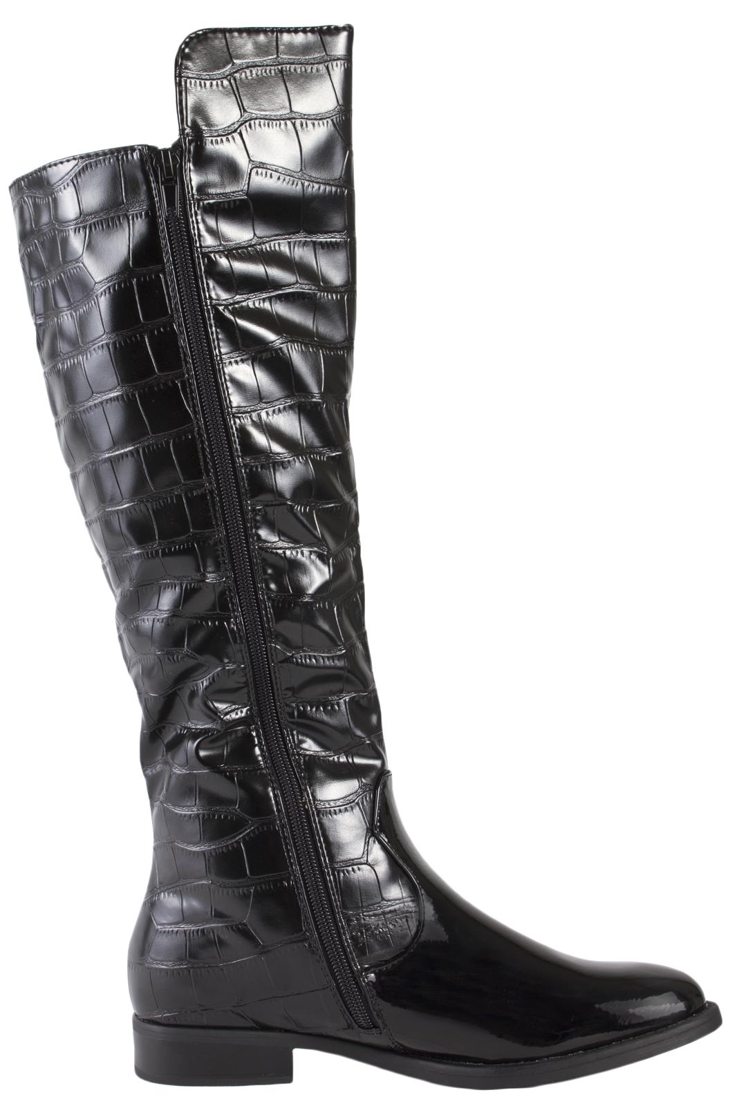 womens faux leather knee high boots zip flat biker