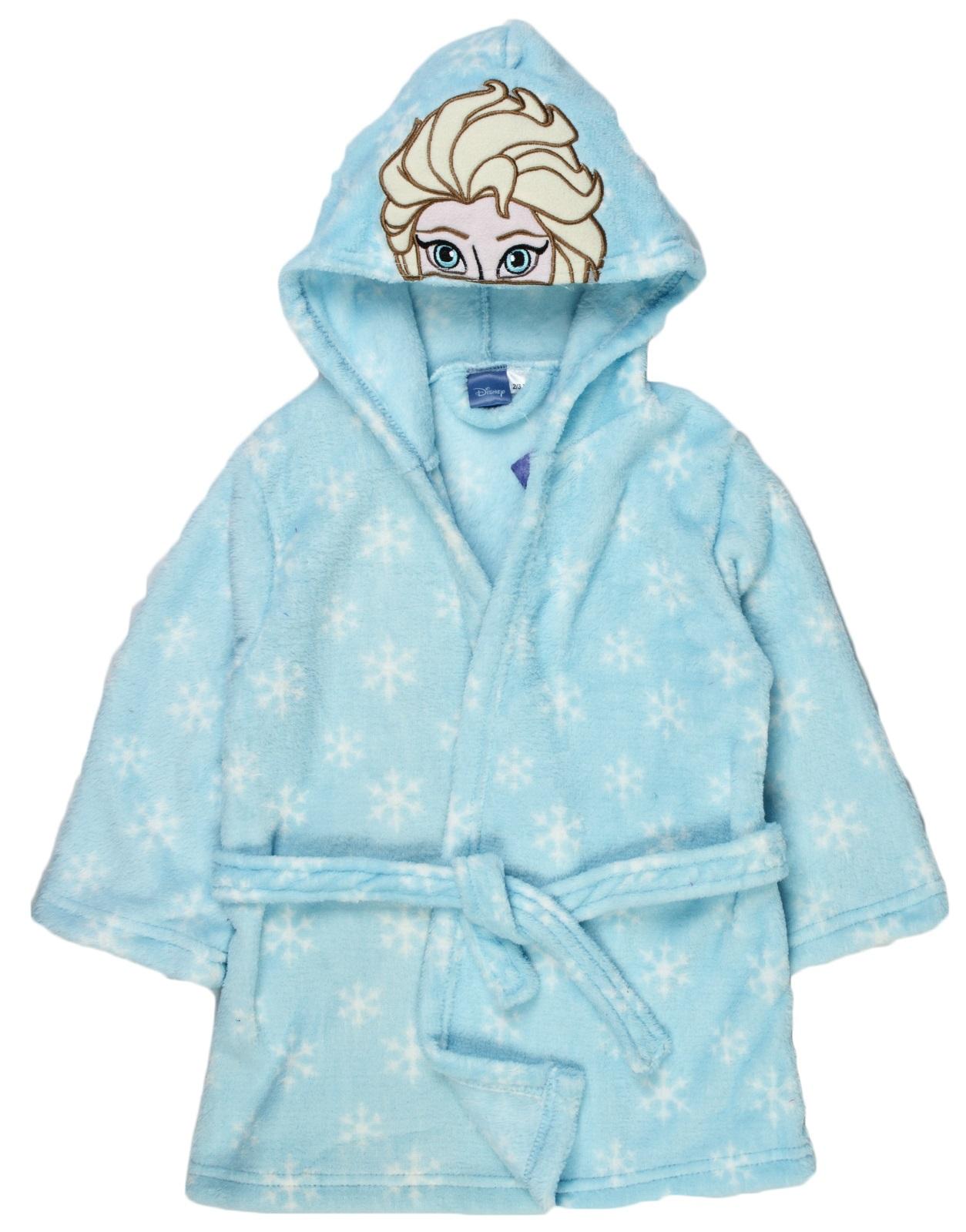 Girls Disney Frozen Hooded Fleece Dressing Gown Elsa Anna Bath