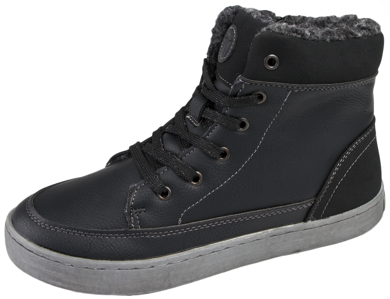 Fleece Lined Hi Tops Ankle Boots Trainers Womens Boys ...