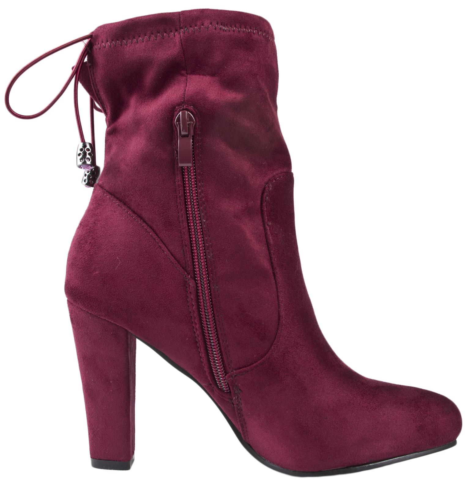 womens high heel ankle boots adjustable tie top faux suede