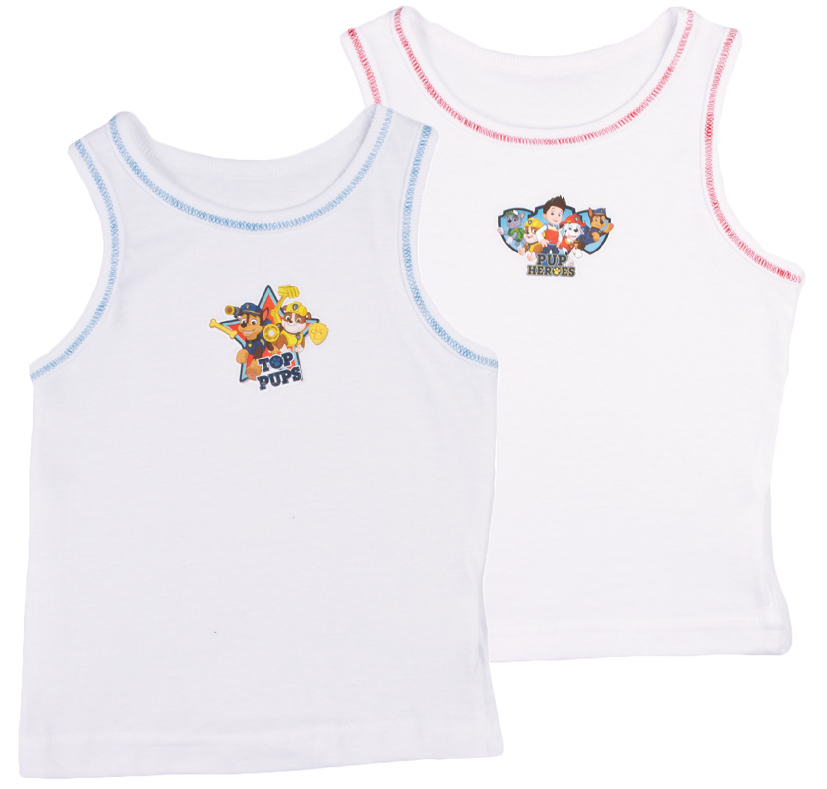 Kids Boys Toddlers 2 Pack Character Underwear Vests Set 100/% Cotton Tops Size