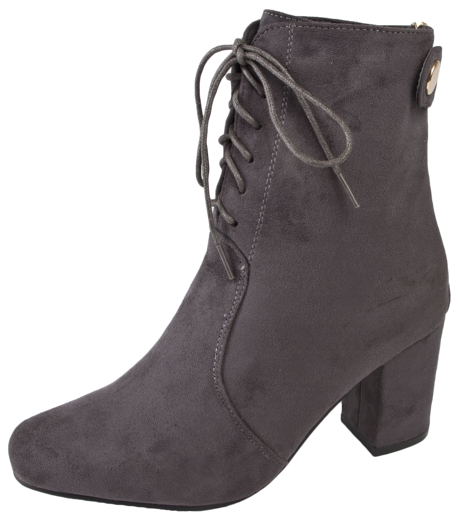 Unique Womens Chunky Block Heel Chelsea Ankle Boots Faux Suede Leather Shoes Girls Size | EBay