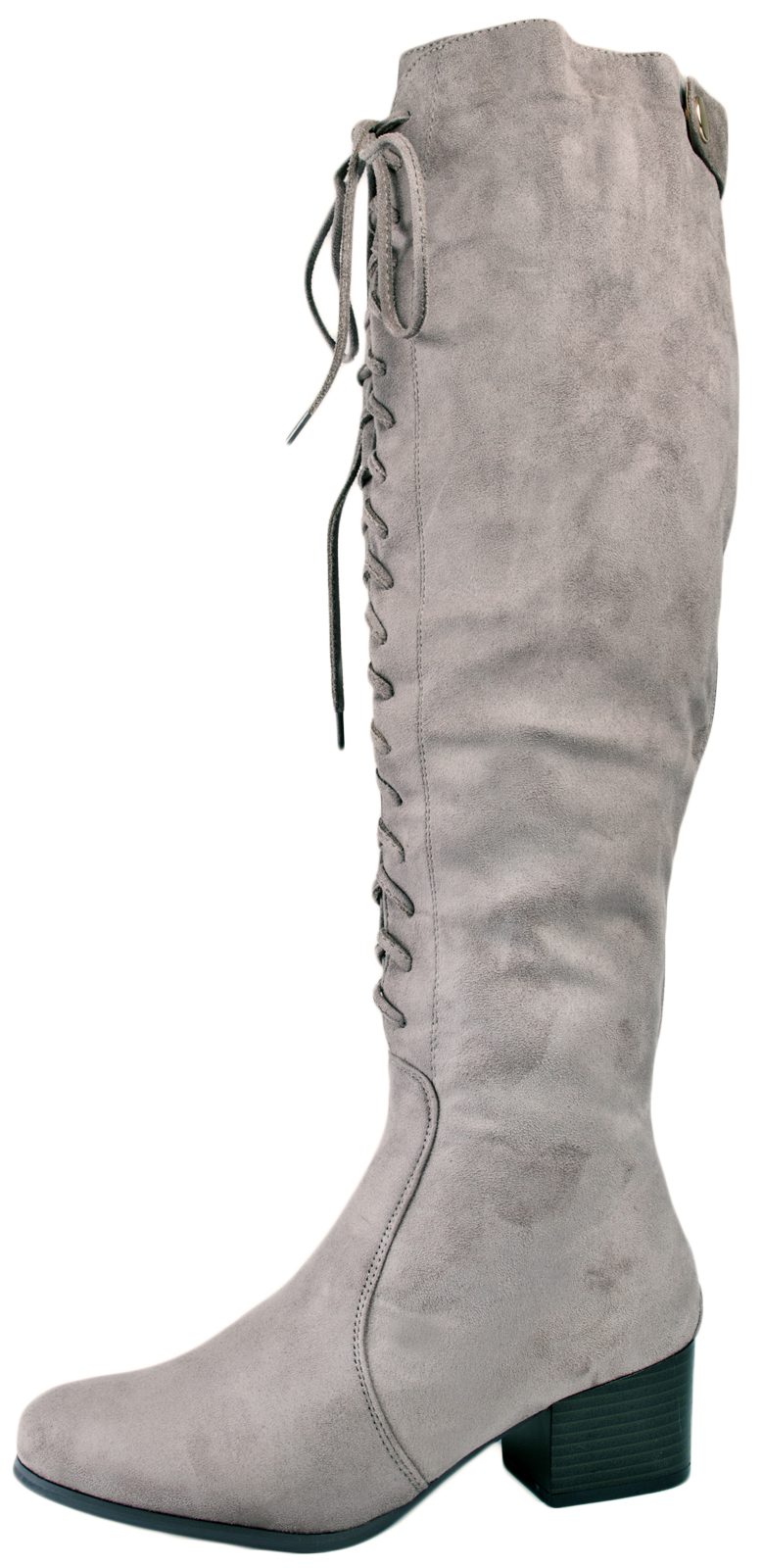 womens lace up knee high boots faux suede low block heels