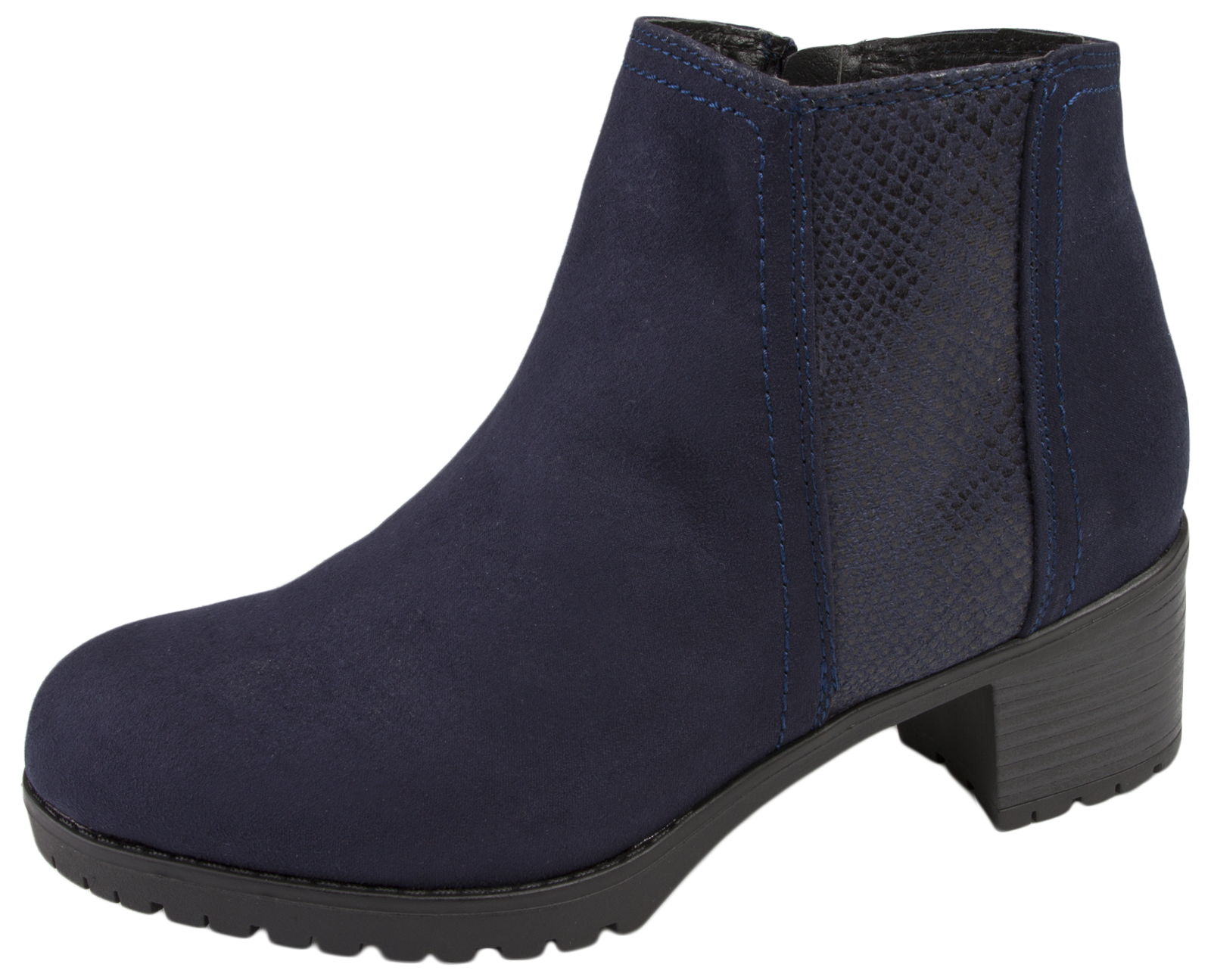 womens chunky block heel chelsea ankle boots faux suede
