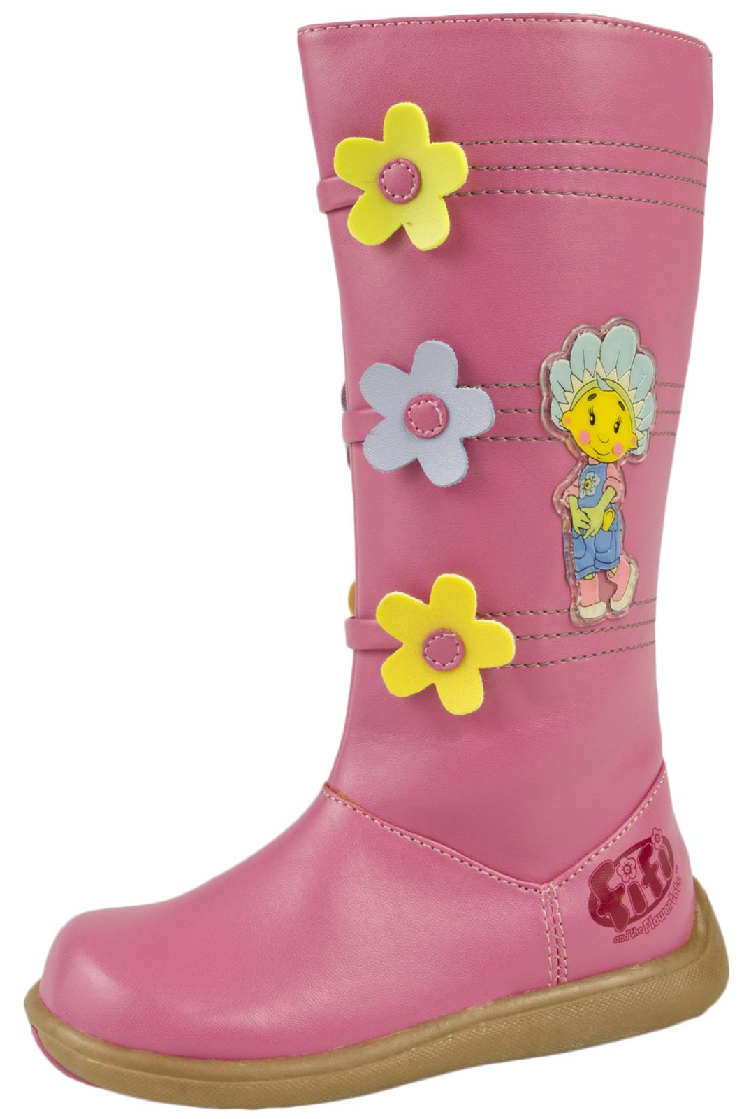 Girls fifi and the flowertots knee high boots faux leather pink girls fifi and the flowertots knee high boots faux leather pink flower shoes mightylinksfo