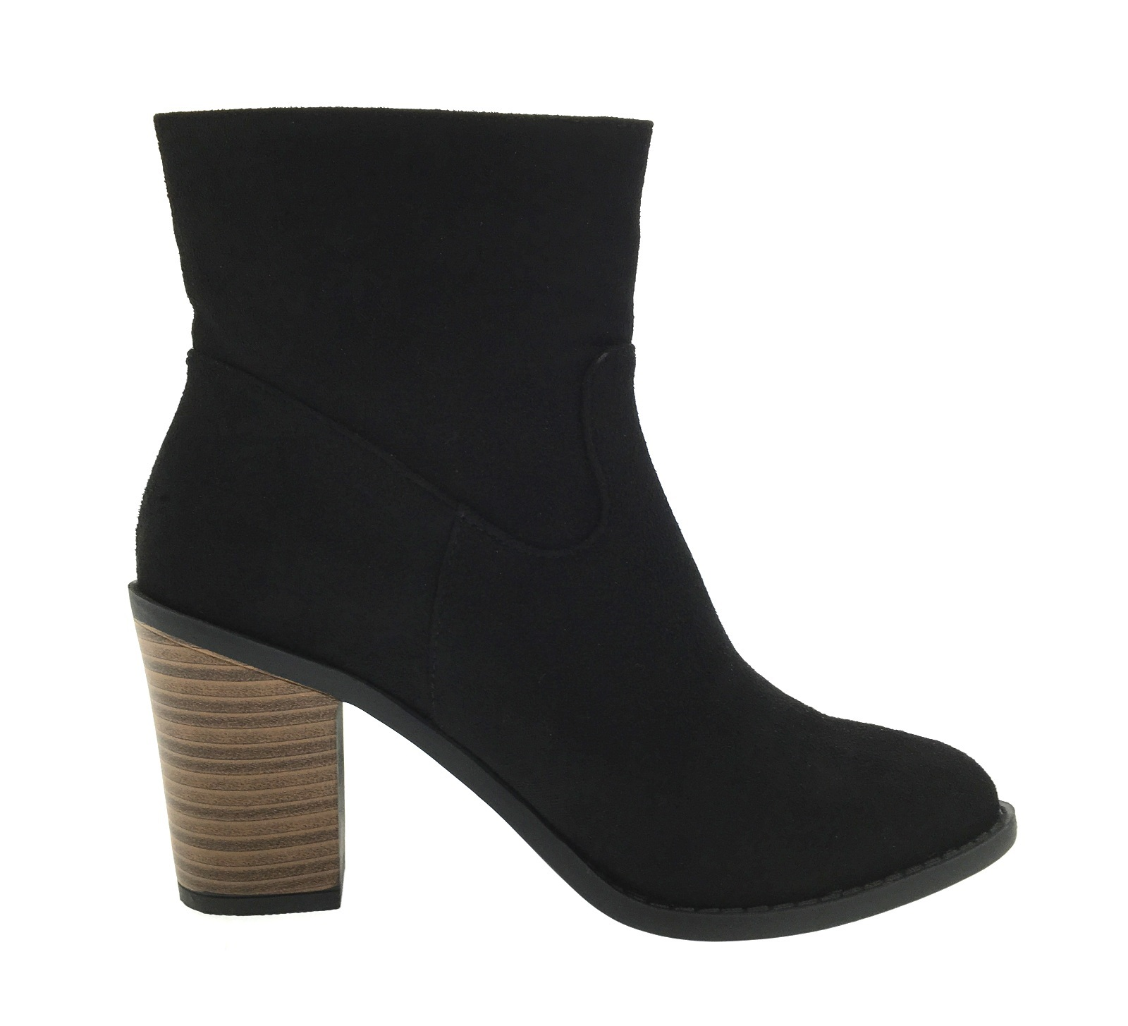 womens wooden block heel chelsea ankle boots faux suede