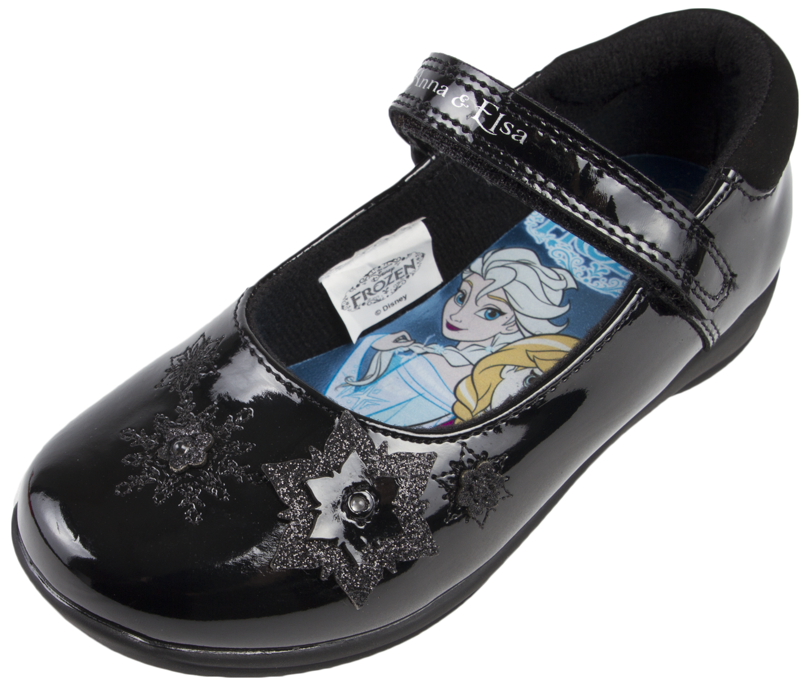 Disney Frozen Black School Shoes Flashing Light Up Faux Leather Mary
