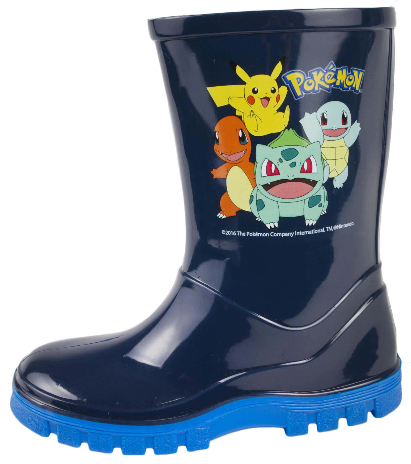 Pokemon Wellies Boys Blue Wellington Rain Snow Boots Pikachu Charmander Size