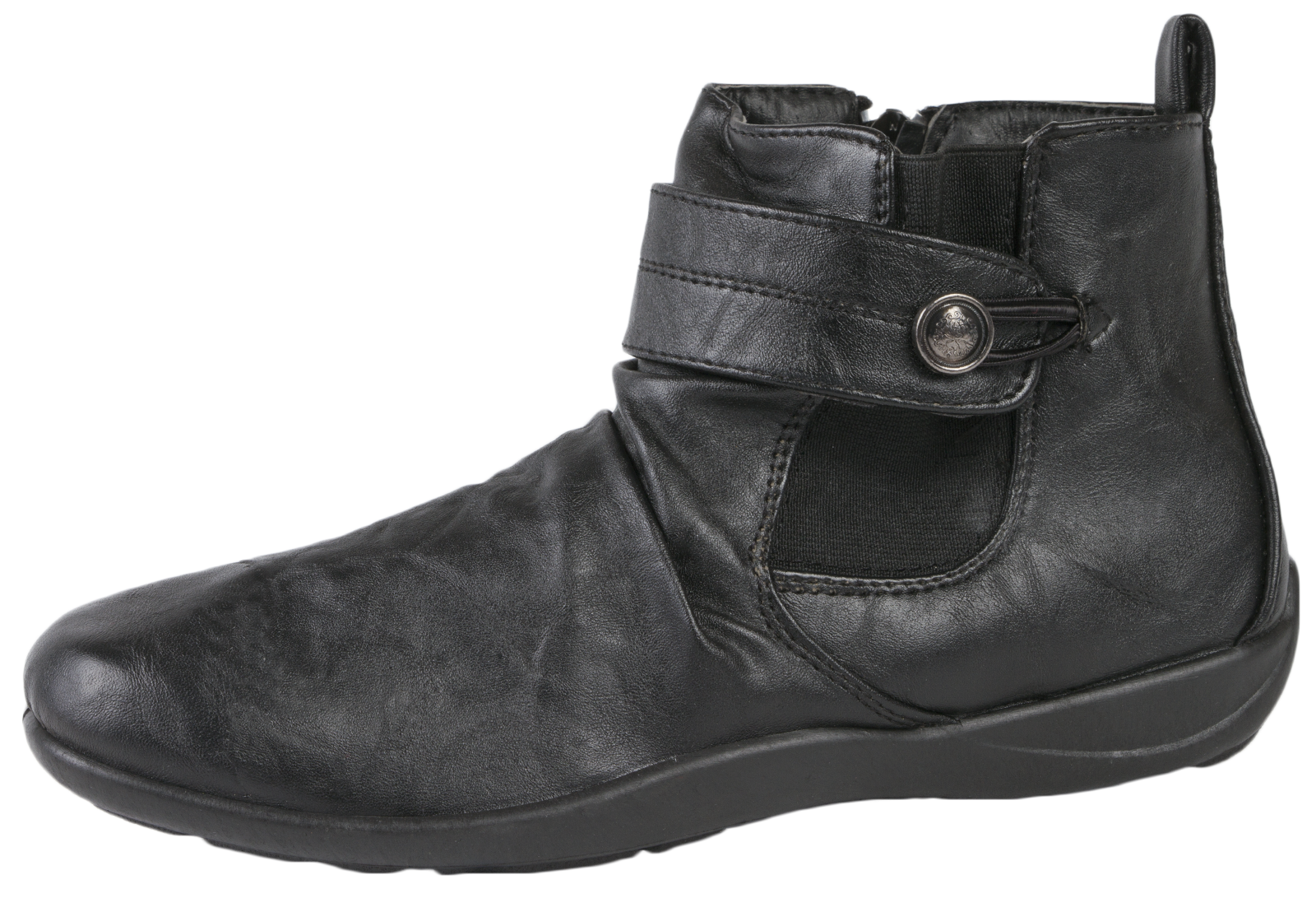 womens fleece lined ankle boots flat faux leather comfort