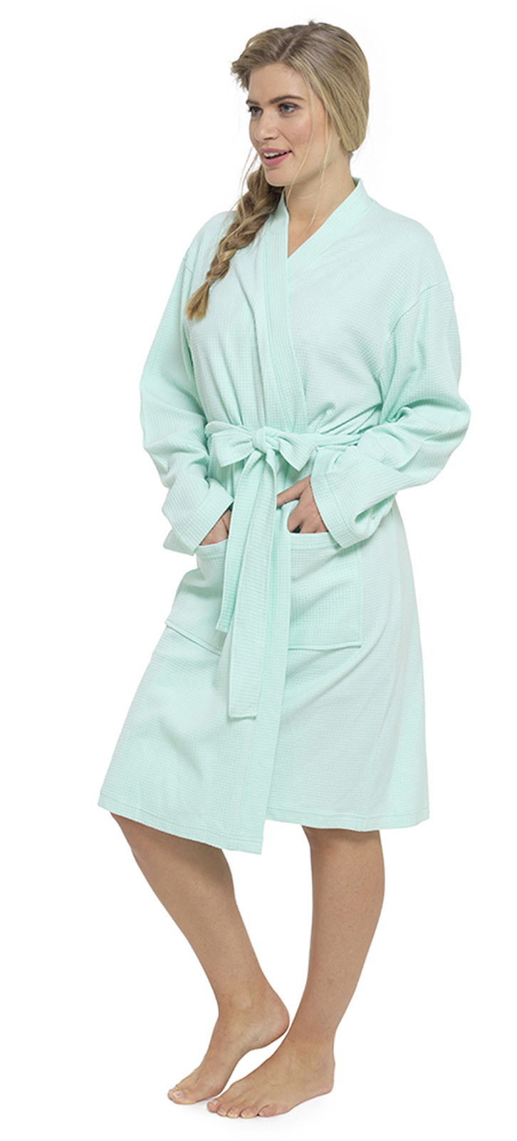 Womens Summer Waffle Bath Robe 100% Cotton Ladies ...