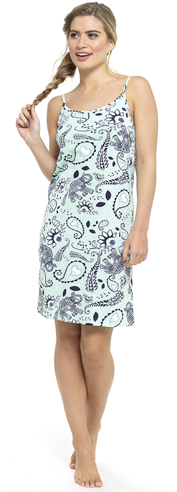 Womens Nightdress Chemise Strappy Nightie 100% Cotton Nightwear Slip ... 77b6c2807