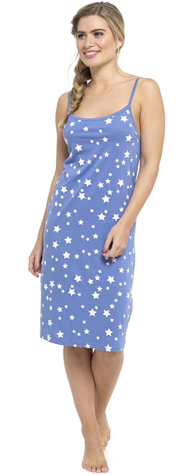 Womens Nightdress Chemise Strappy Nightie 100% Cotton Nightwear Slip ... 374d635964d6