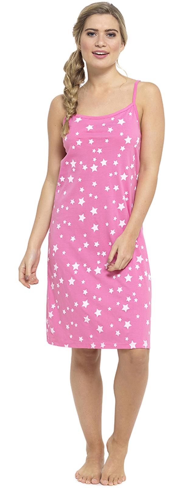 130fbcbf20897 Womens Nightdress Chemise Strappy Nightie 100% Cotton