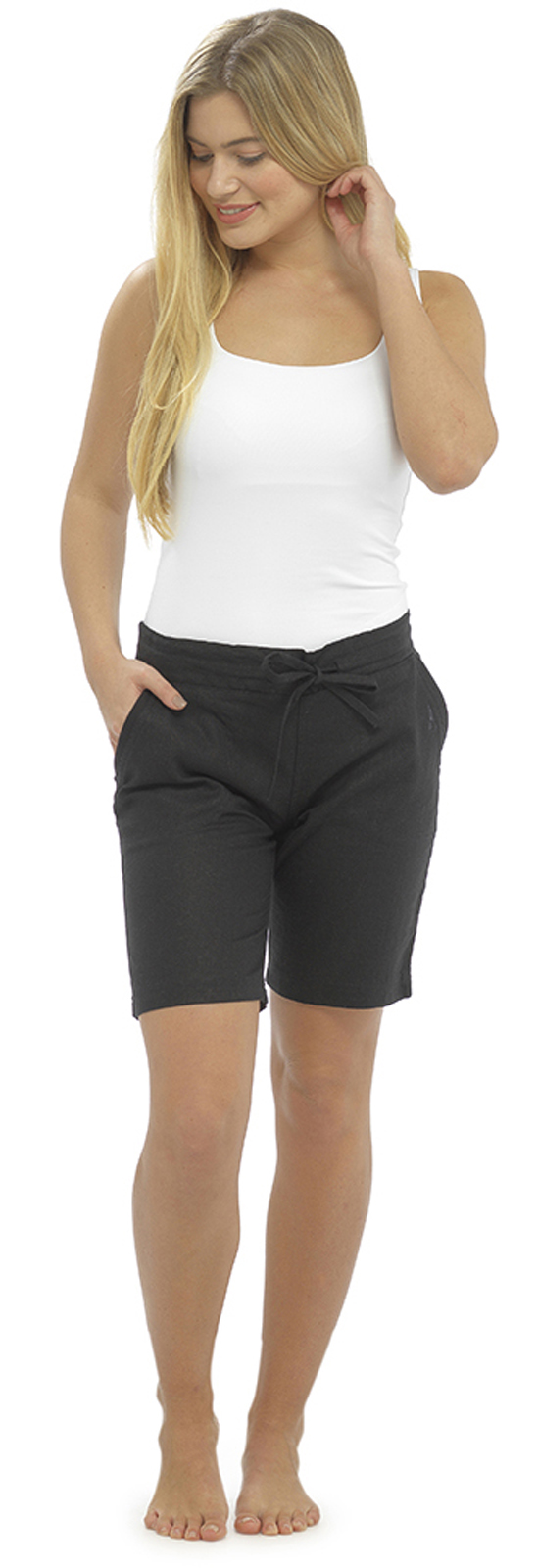 af53d41891 womens linen shorts with elasticated waist holiday beach hot pants girls  size ebay