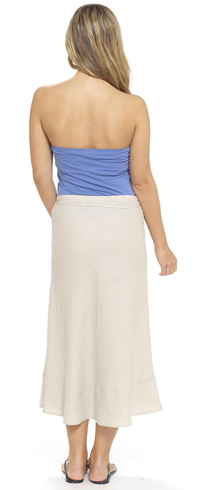 womens linen skirt length summer maxi skirt tie