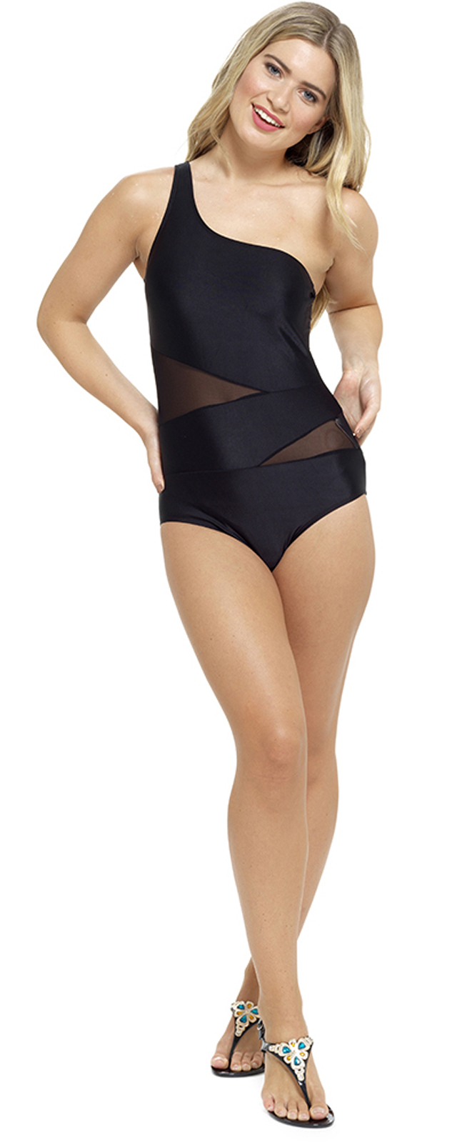 Womens One Shoulder Swimsuit With Mesh Panels Monokini Swimming