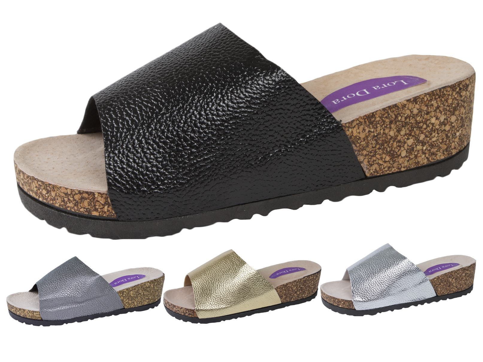 Womens Cork Wedge Mules Metallic Footbed Platform Sandals