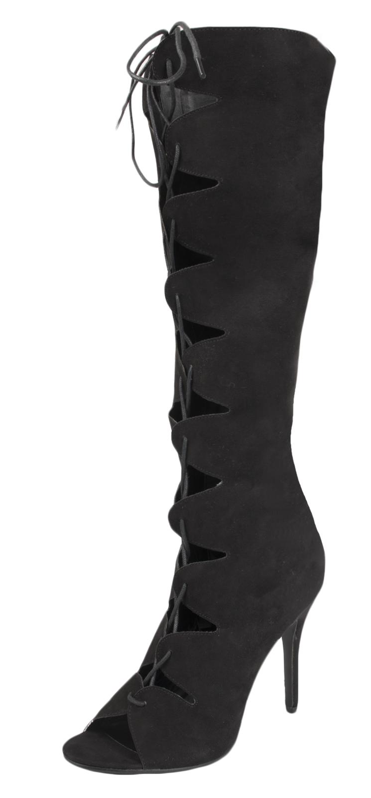 Mujer Botas Hasta La Rodilla Zapato Taco Alto Peeptoe corte Sandalias Señoras Tamaño