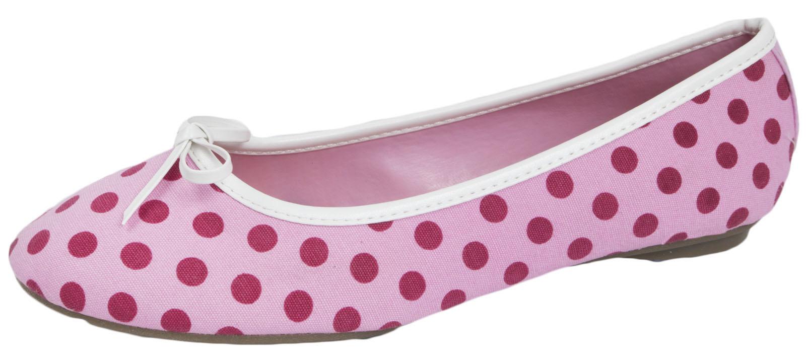 Mujeres Polka Dot Tela Ballet Zapatos De Salón Slip On Dolly Bailarinas Señoras Tamaño