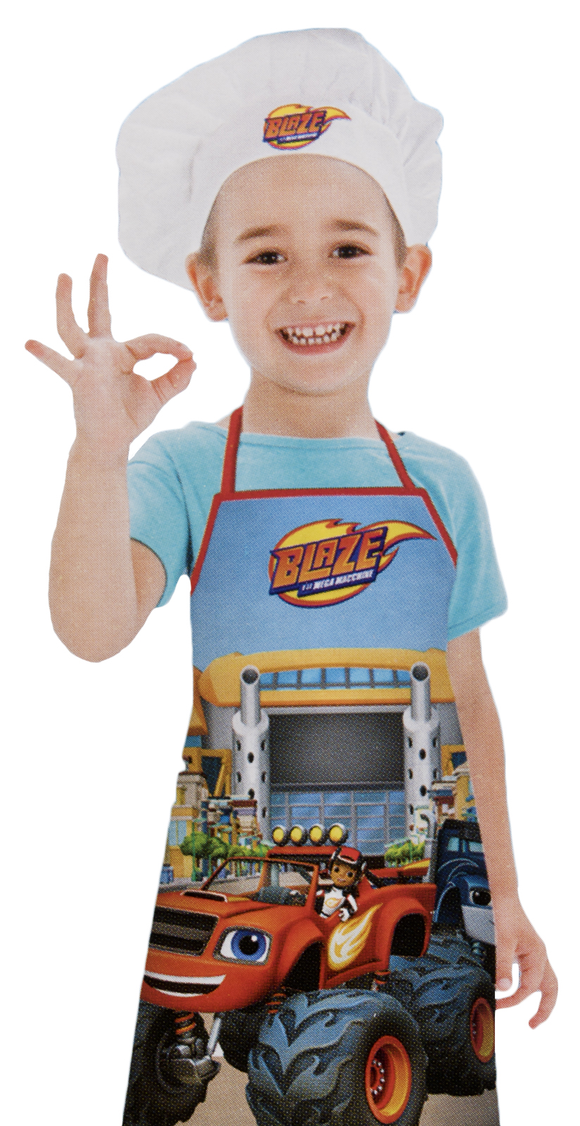 Boys Blaze And The Monster Machines Apron + Chefs Hat Set Kids ...