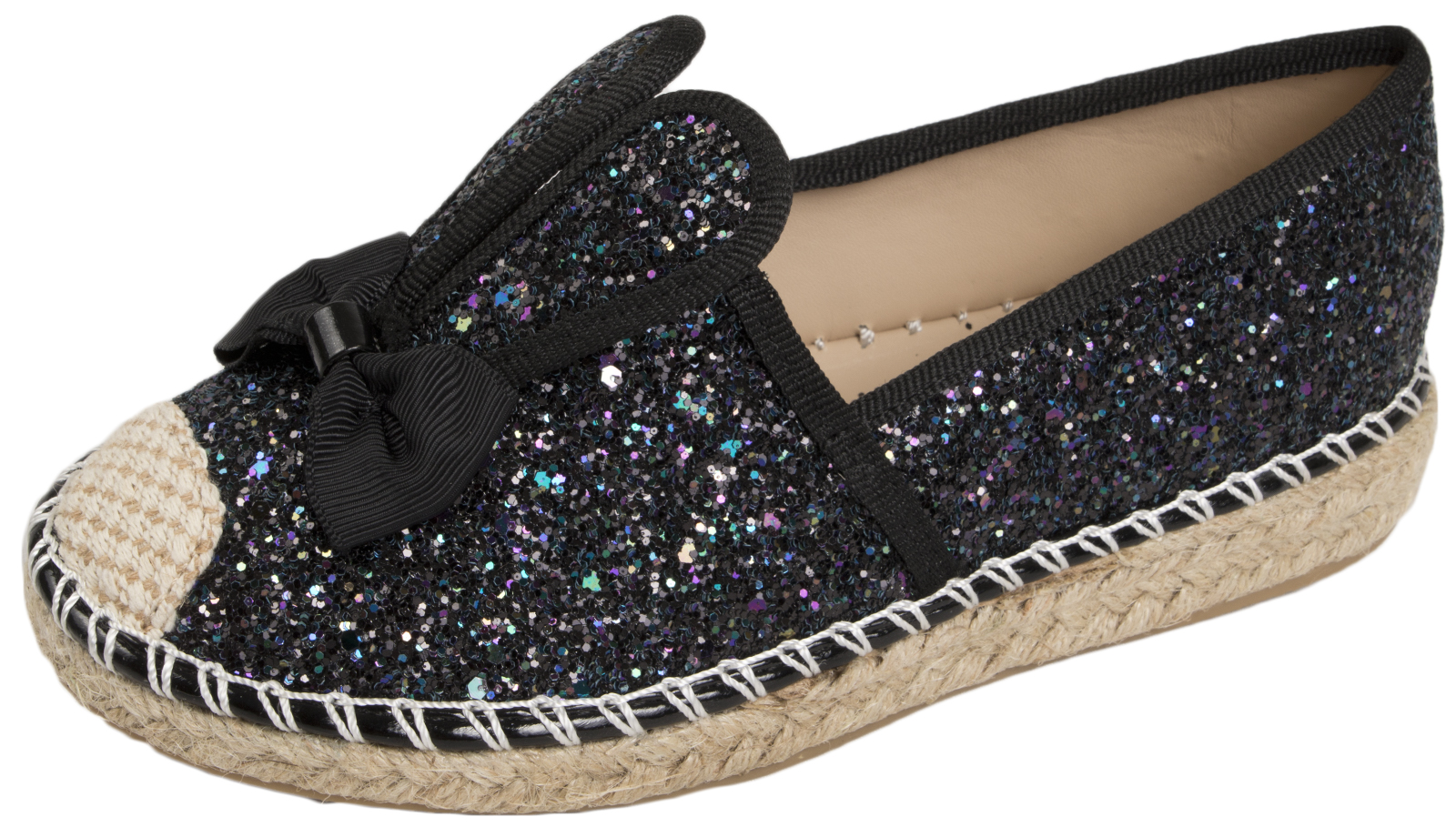 Girls Glitter Shoes 3D Bunny Ears Slip On Pumps Casual Summer Trainers Kids Size