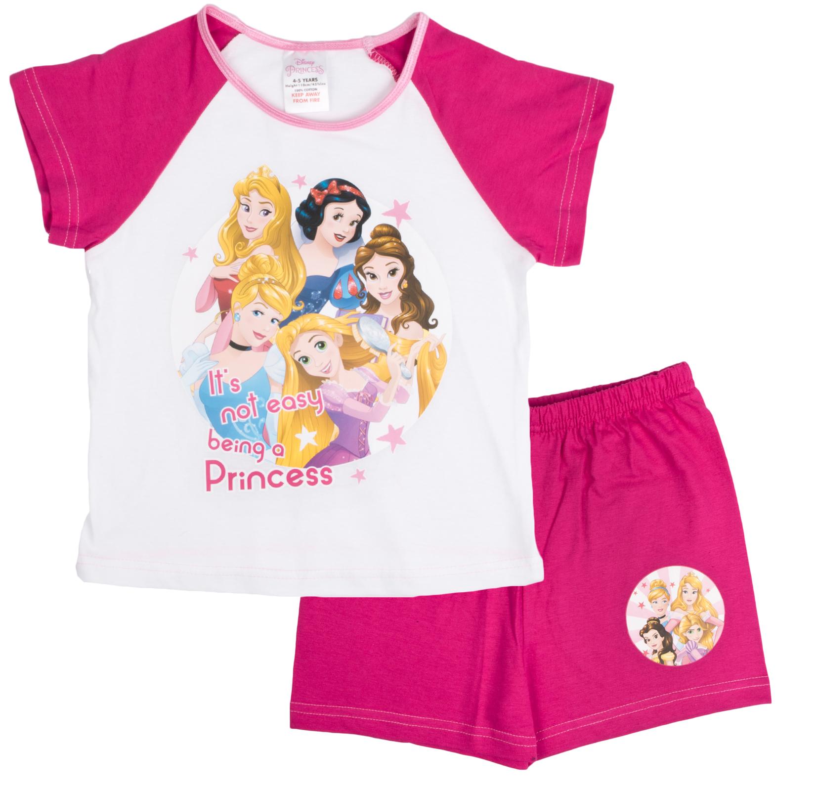 9bb026e14 Kids Girls Official Disney Princess Short Pyjamas Character Pjs Set ...
