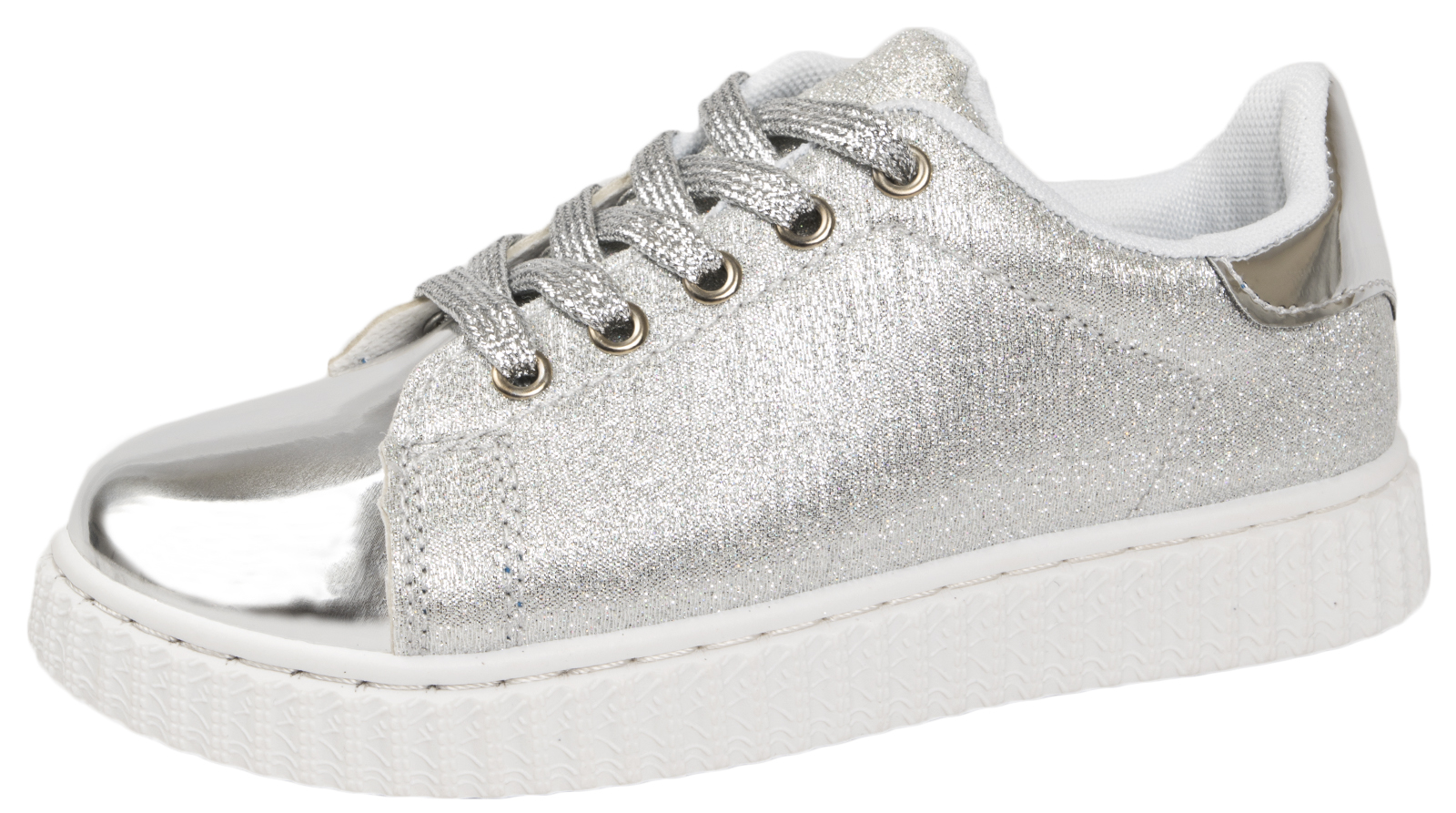 Girls Glitter Trainer Metallic Skate Pumps Party Summer Sports Shoes Kids Size