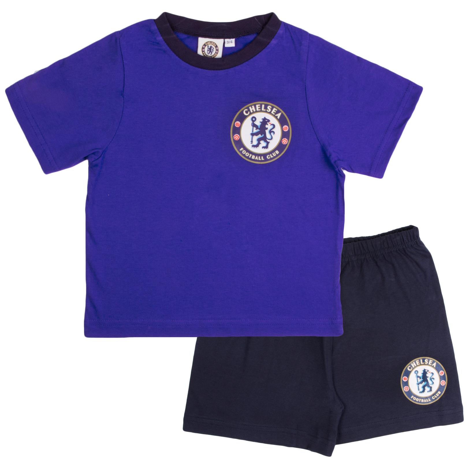 Garçons Officiel Chelsea Court Pyjamas 100/% Coton Football Shortie Pjs enfant taille