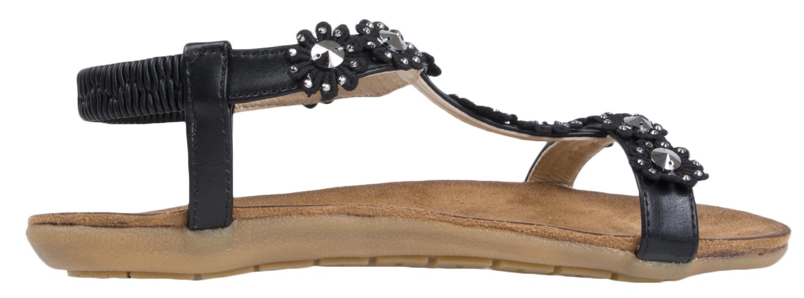 Womens Elastic Strap Diamante Flower Sandals Ladies Open Toe T Bar Shoes Size