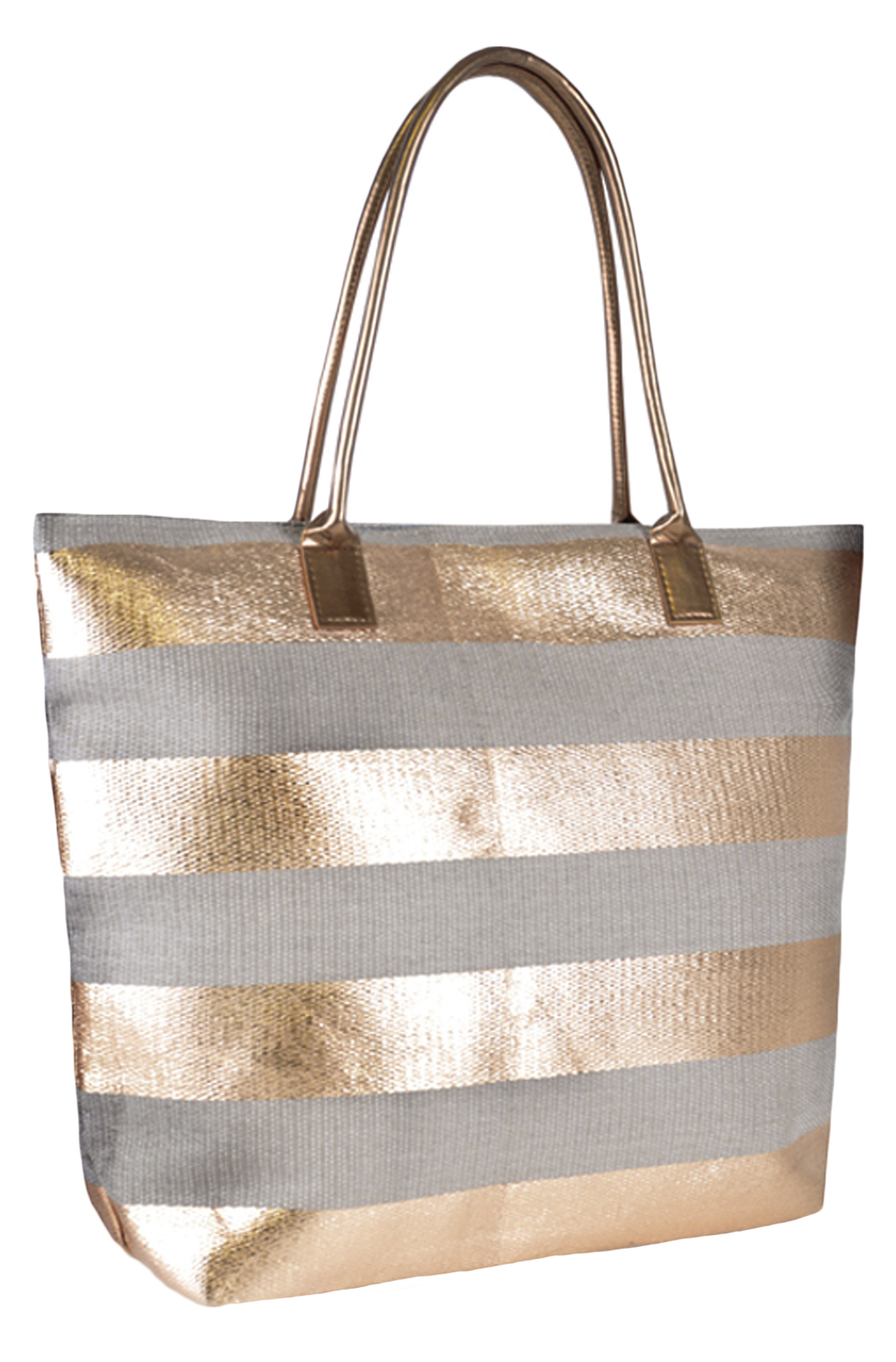 Womens shoulder metallic tote bag summer holiday beach