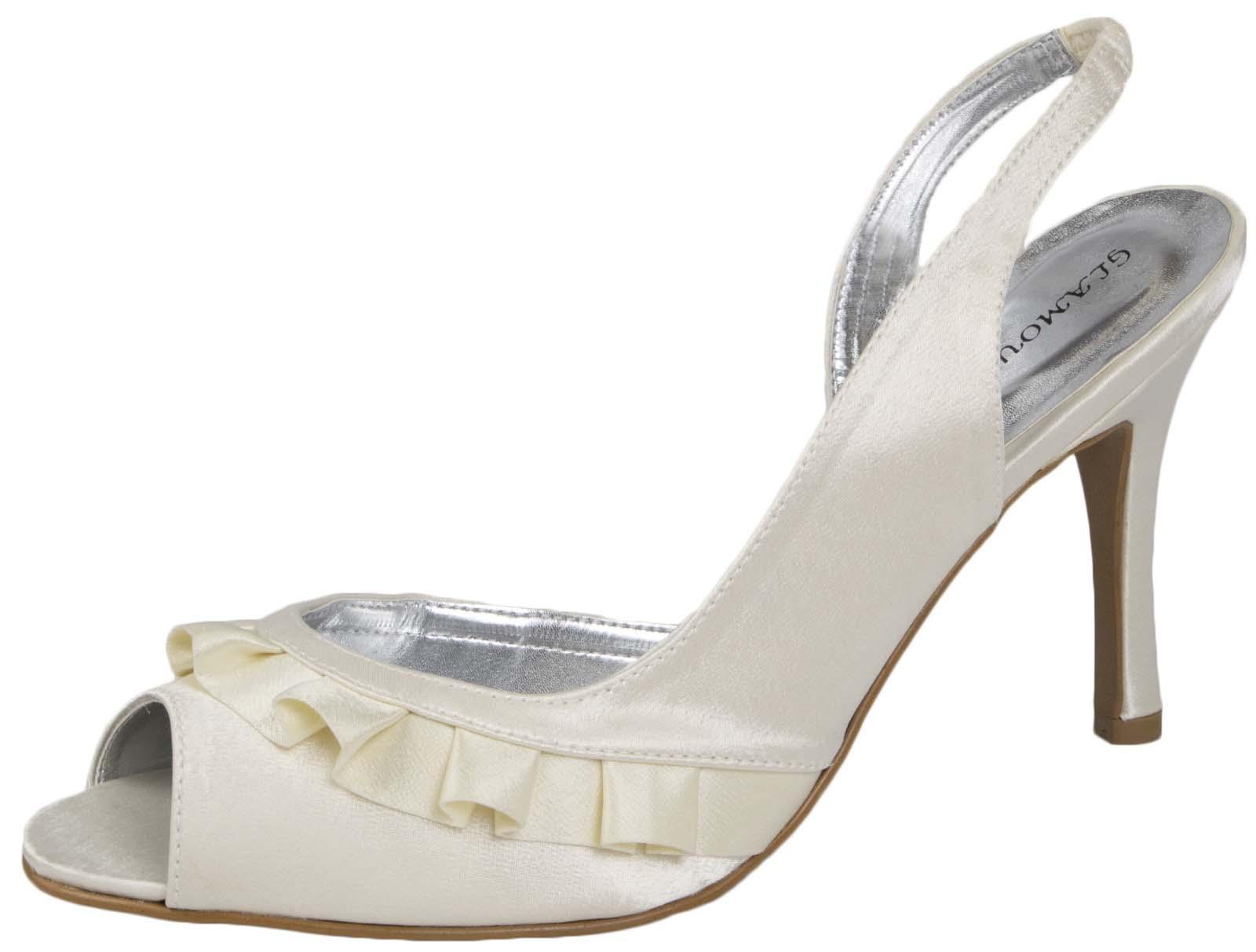 Womens Satin Bridal Wedding Shoes Ruffled Bridesmaids Sandals High Heels Size