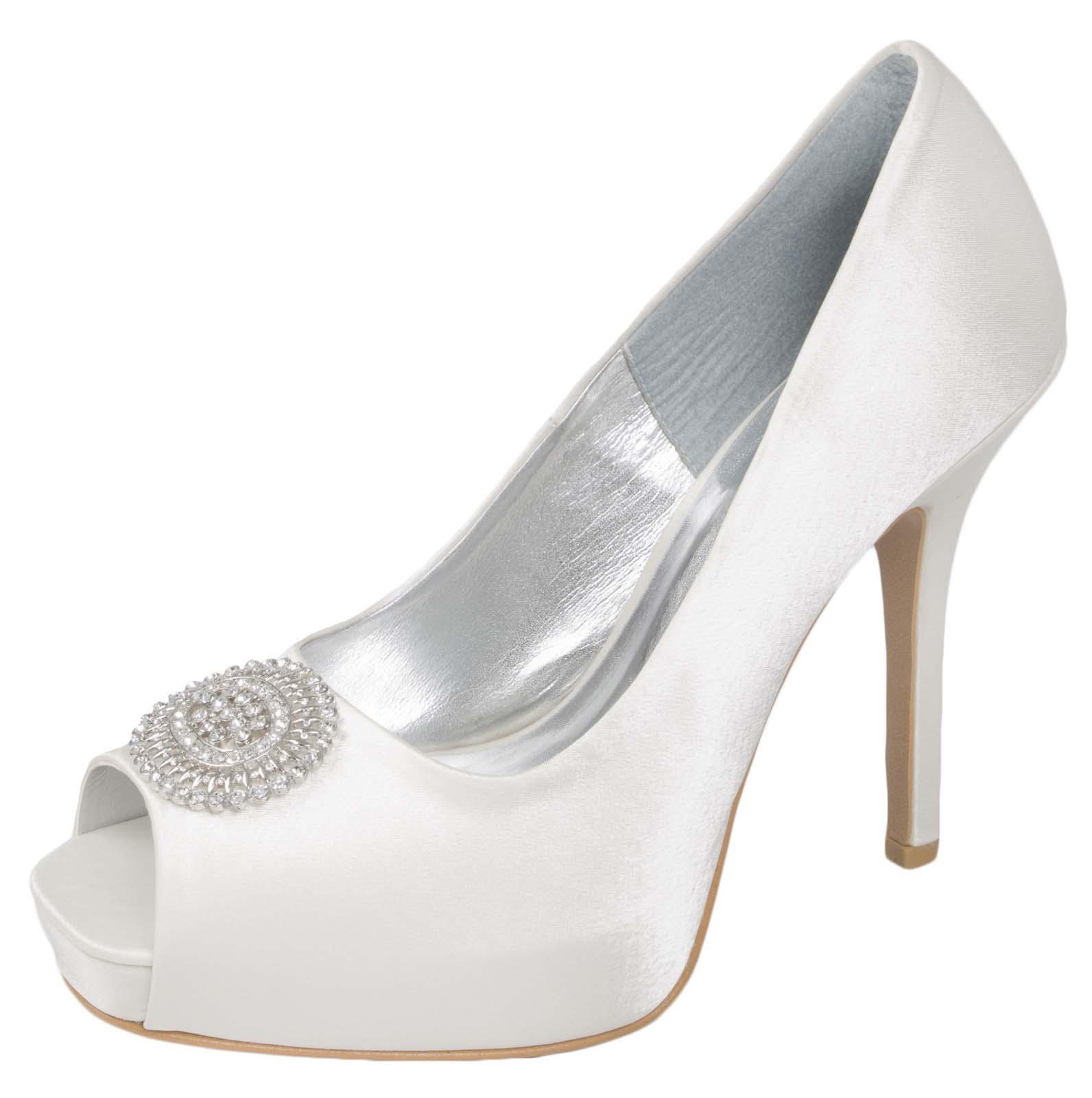 Ladies Diamante Bridal Wedding Shoes Satin Platform High