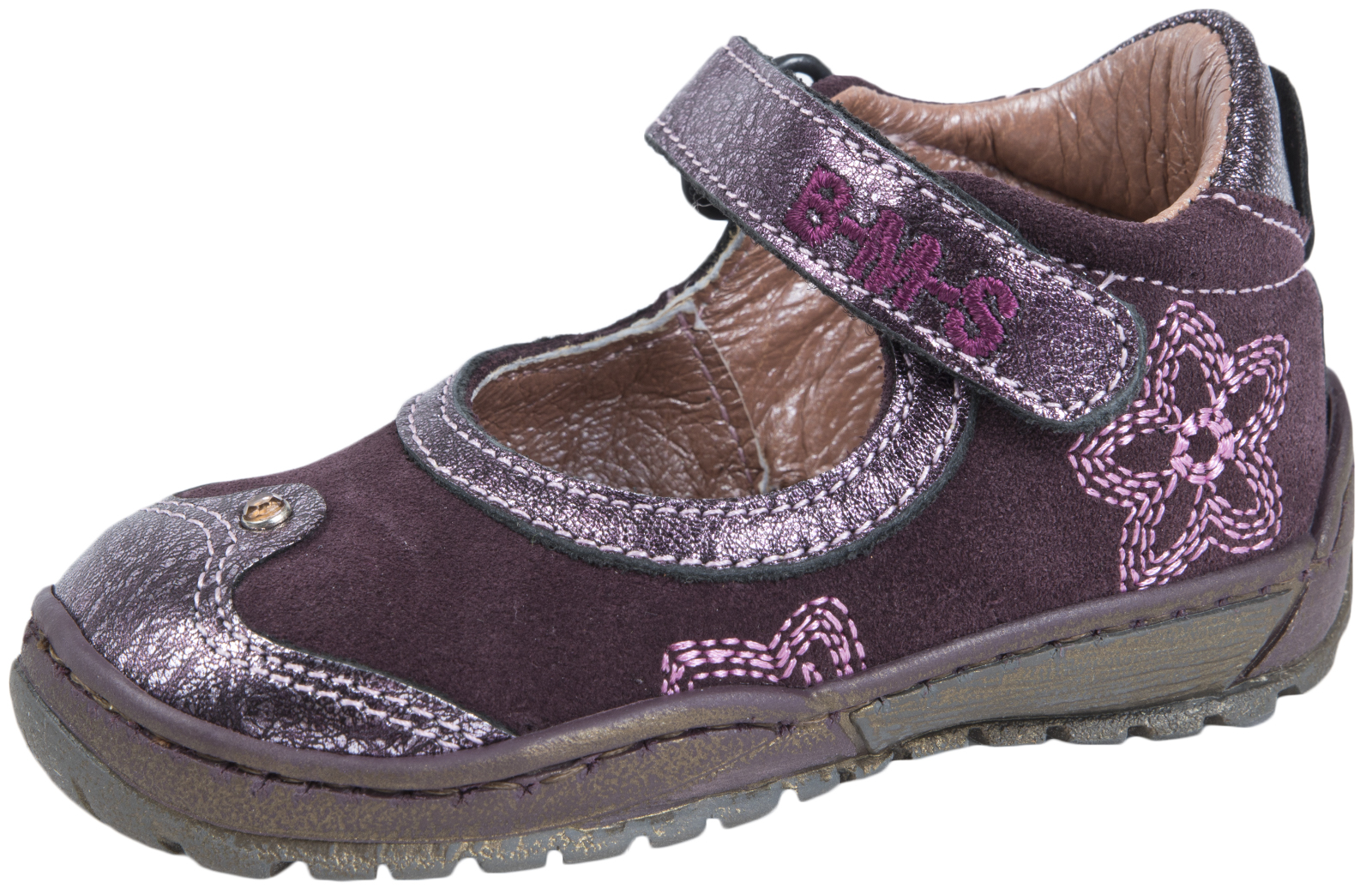 BMS Buckle My Shoe Girls Leather Shoes Kids Easy Touch Fastening Party Shoes