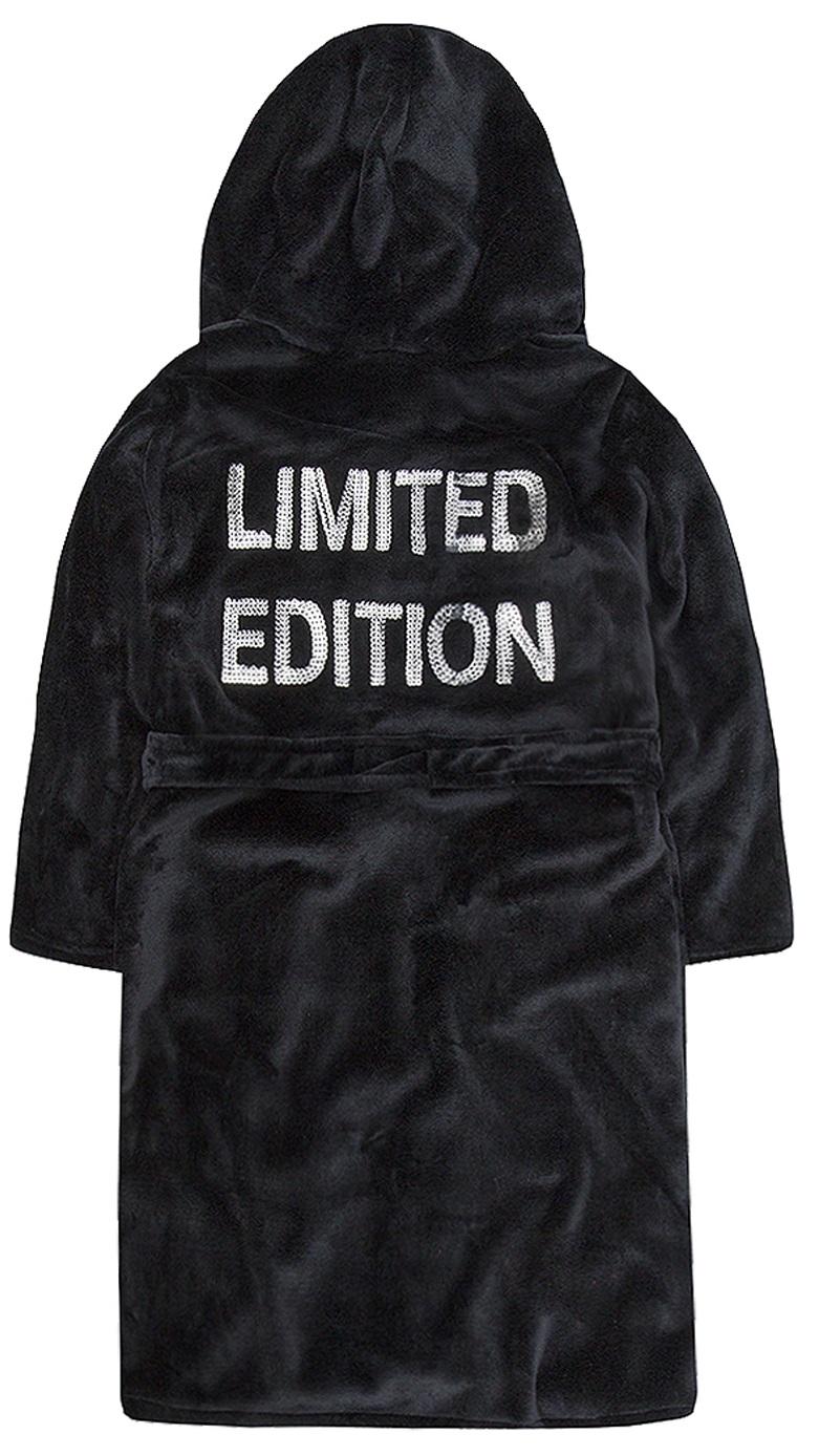 Girls Sequin Slogan Dressing Gown Teen Novelty Bath Robe Hooded Plush Night Gown
