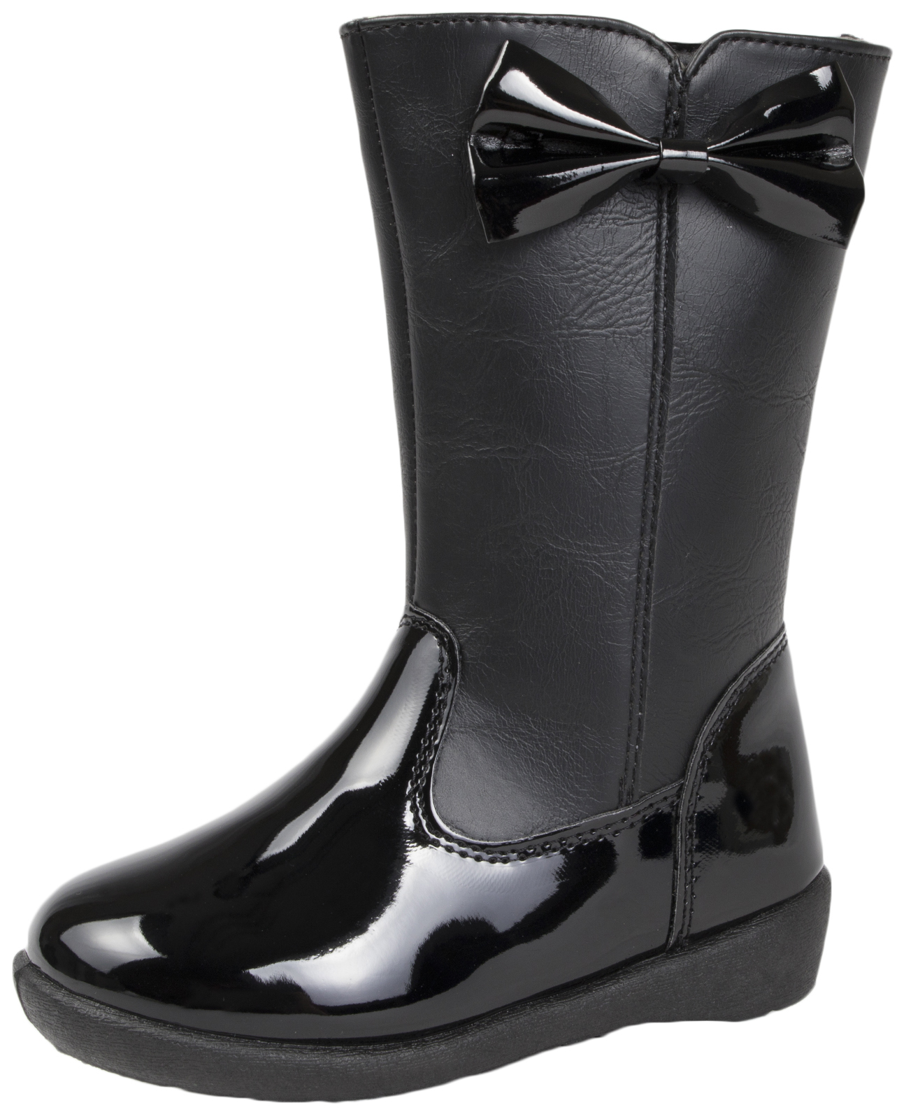 Girls Black Faux Leather Knee High Boots 3D Patent Bow Winter School Shoes Size