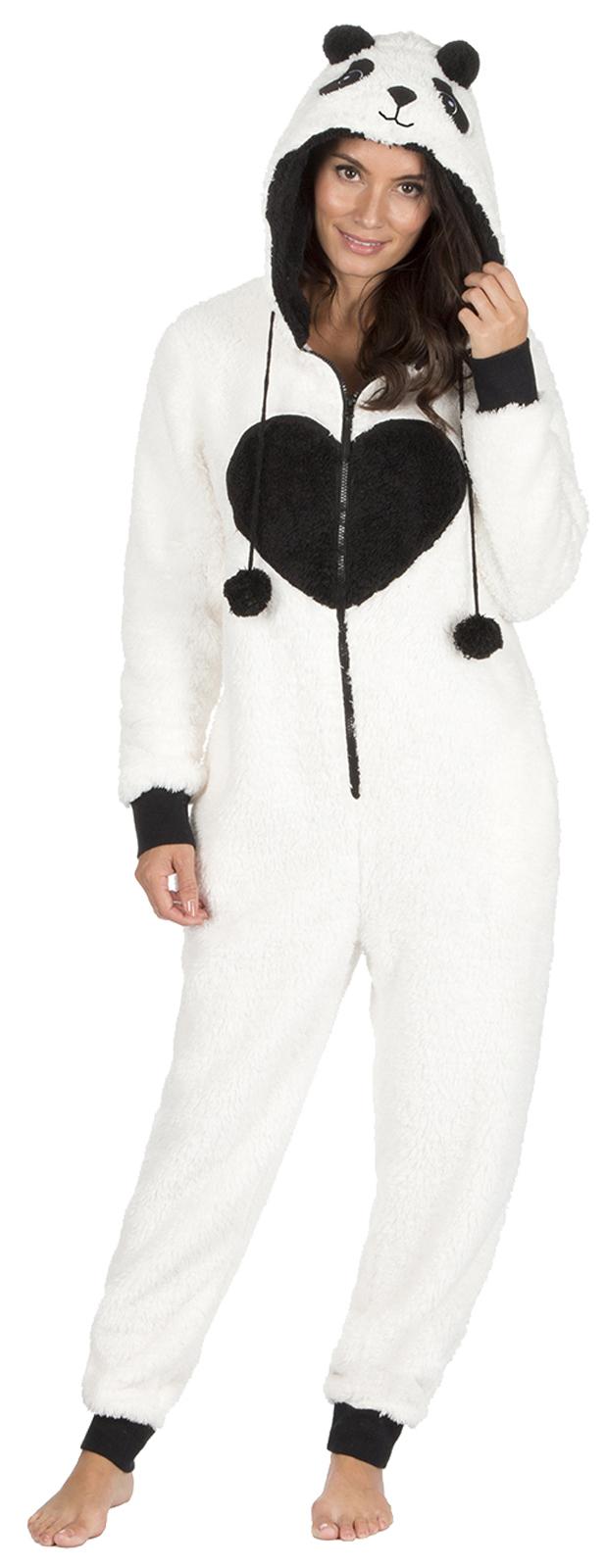 Womens Novelty Hooded 3D Onezee Fleece Pyjamas Dress Up All In One Pjs Unicorn