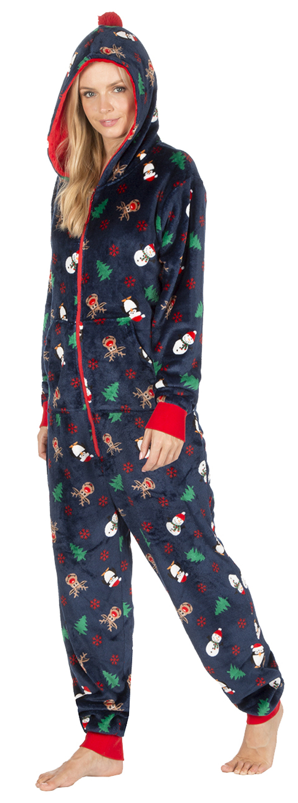 Womens Novelty Christmas Dressing Gown Onezie Xmas All In One Fleece Pyjamas