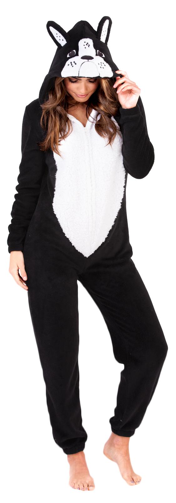 Womens French Bulldog Onezee Slippers All In One Fleece Pyjamas Character Onezie