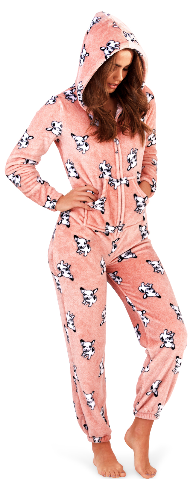 Womens French Bulldog Hooded Robe Flannel Fleece Bathrobe Dressing Gown Pyjamas